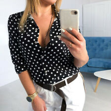 Womens Polka Dot Long Sleeve Blouse Tunic T-Shirt Top Casual Button Pocket Tee
