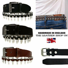 New Fashion Bullet Studded Real Leather 100% Handmade Removable Buckle Belt