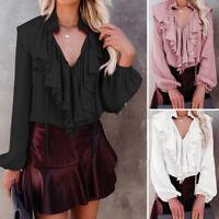 Size UK Women Sexy V Neck Lolita Blouse Tops Victorian Gothic Ruffle BLACK Shirt