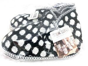 MUK LUKS Ebony & White Polka Dot Slipper Boots New with Tags Women's L 9-10