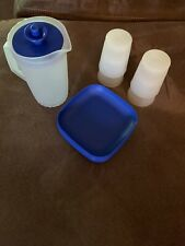 Tupperware TupperToys Kids Play Set Vintage Pitcher Plates Cups 10pc Blue/Frost