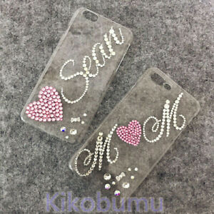 Heart Name Customize Bling Logo Pattern A Class Crystal Personalize Phone Case