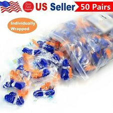 50 Pair Soft Silicone Corded Ear Plugs Reusable 29db Hearing Protection Earplugs