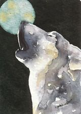 "ACEO Giclee PRINT watercolor 2.5"" x 3.5"" HOWLING WOLF totem spirit animal"