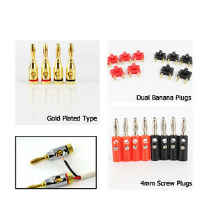 Sing Dual Tip Banana Plugs Audio Speaker Wire Connector Screw Lock Cable End Lot