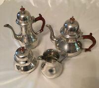 Vintage John Somers Brazil Pewter Coffee Pot Tea Pot Creamer Sugar Set RARE!