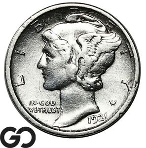 1921-D Mercury Dime, Scarce This Nice, Choice XF Jet Date Denver Issue