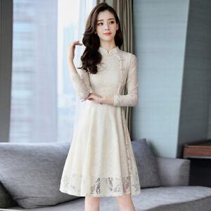 latest summer Korean fashion elegant beautiful Long sleeve Bud silk dress