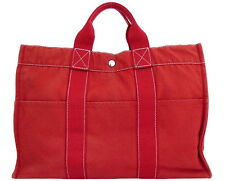 AUTHENTIC HERMES Fourre Tout MM Double Handle Tote Handbag Red 100% Cotton
