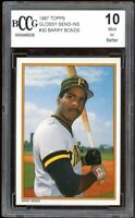 1987 Topps Glossy Send-Ins #30 Barry Bonds Rookie Card BGS BCCG 10 Mint+
