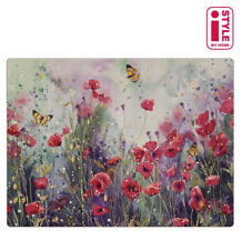 RED POPPY FIELD Floral 4 Placemats and 4 Coasters Set Floral Red Flowers.