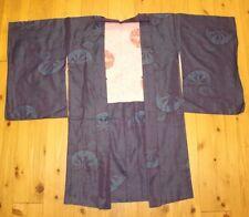 Vintage Old Japanese Smooth Purple Silk Wheel Woven Ladies Haori