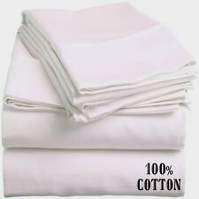 6 NEW WHITE QUEEN SIZE HOTEL FLAT SHEETS 90X110 200 THREAD COUNT 100% COTTON
