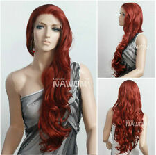 Dark Red Graceful Haifa Wehbe Long Wavy Curly Wig Fashion Front Lace Wig Hair