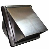 """Stainless Steel Wall Air Vent Bathroom Cowl Extractor Outlet Non Return Flap 4"""""""
