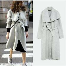ZARA Mantel Wolle Wollmischung Grau Wickelkragen Coat Wool Blogger M 38 NP. 129€