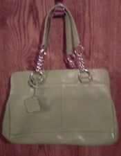 Solid Green Hand Purse With Pink Liner Silver Metal Link Chains. Double Strap.