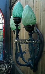"""c1900 Art Nouveau Jugendstil Bronze 3 Arm Green Flame Wall Light Sconce 22"""""""