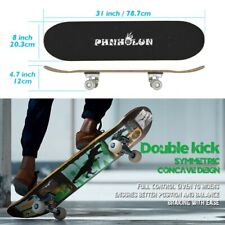 31''x 8'' Complete Trick Skateboard Double Kick Deck Dinosaur with White Wheels