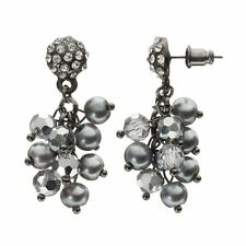 NEW! SIMPLY VERA WANG Earrings Crystal Disc & Beaded Cluster FREE SHIPPING!