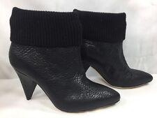 Loeffler Randall $795 Black Knit Trim Pebbled Leather Ankle Boots Heel Booties 7