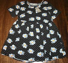 Girls Black Polka Dot Daisy Print Short Sleeve Summer Sun Dress Age 6 Years NEW