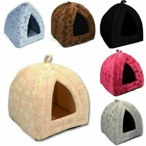 Dog, Puppy, Cat Pet House Cave Fleece Padded Bed Igloo Washable House