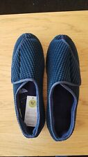 Mens Blue corduroy riptape Slippers Size 12 From Marks And Spencer Brand New