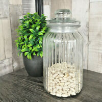1300ml Ribbed Glass Storage Jar Airtight Vintage Kitchen Biscuits Food Container