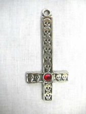 "Pewter Satanic Inverted Cross with Skulls Red Crystal 3"" Pendant Necklace"