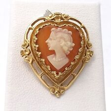 Art Deco14k Gold Carved Cameo Heart Shaped Filigree Left Facing Charm Pendant