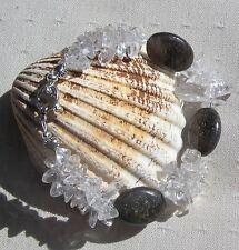 "Bronzite & Clear Quartz Gemstone Bracelet ""Chocolate Ice"" Special Offer Price"