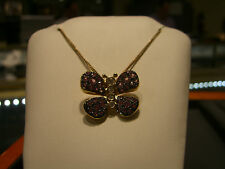 ITALIAN BUTTERFLY NECKLACE FINE 14K YELLOW GOLD DIAMOND AND PINK SAPPHIRE NEW!!