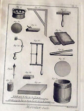 ANCIENNE GRAVURES XVIII S. ( 1784 ) MIROITIER , outils   PL. 7