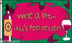 Wine a Bit wine Bar Pub Sign 5'x3' Flag - LAST FEW
