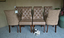 Set of 8 Button Back French Provincial Hardwood Frame Upholstered Dining Chairs