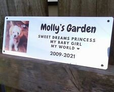 Pet memorial Dog, Cat bench plaque with photo, remembrance, grave marker