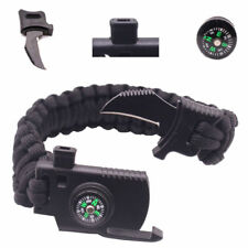 Outdoor Sports Survival Gear Knife Paracord Bracelet Compass Whistle Gear Black