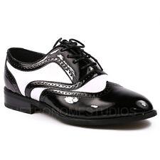 Men's Black White Tuxedo Wing Tip Lace Up Oxford Dress Shoes