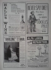 "1899 ADVERT HALL'S WINE-COCKLE'S PILL-EDWARDS ""HARLENE""-ALFA LAVAL SEPARATORS"