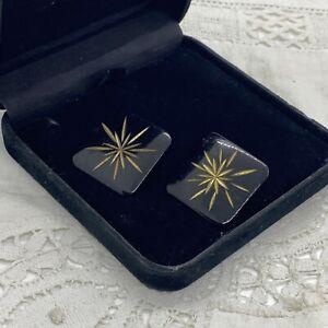 RETRO Etched Starburst Earrings Black Enamel Square Large Pierced Stud Atomic