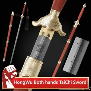 HongWu Both hands TaiChi Sword Hand Forged pattern steel Pure copper Fittings036