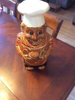 Vintage Brown Glaze Made in Japan Chef Cookie Jar Rare Style Ceramic