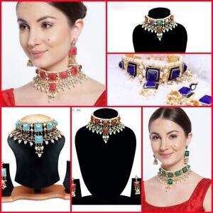 Bollywood Bold Stone Kundan Choker Earrings Drop Dangle Latest 2021 Designs Set