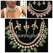 Indian Bollywood Bridal Baby Pink & Gold Small necklace, earring & Maangtikka