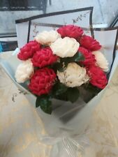 Handmade Flowers Roses Bouquet paper red and white long lasting valentines day