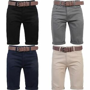New Mens Crosshatch Belted Chino Shorts Knee Length Cargo Combat Pants Cotton