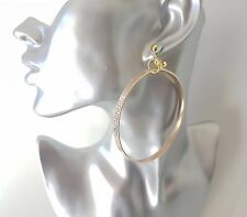 1 pair of gorgeous large patterned gold tone hoop drop CLIP ON earrings   #AB2