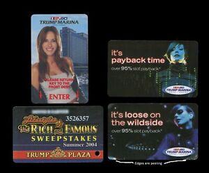 3 Trump Marina & 1 Trump Plaza Players Slot Card - Melania Trump -