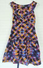 LUCKY 13 ~ MULTI-COLOURED SLEEVELESS VINTAGE-STYLE DRESS Pockets Tie Belt Size 8
